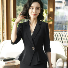 Профессиональный женский Блейзер, новая осенняя модная куртка с коротким рукавом, верхняя Офисная Женская верхняя одежда, рабочая одежда