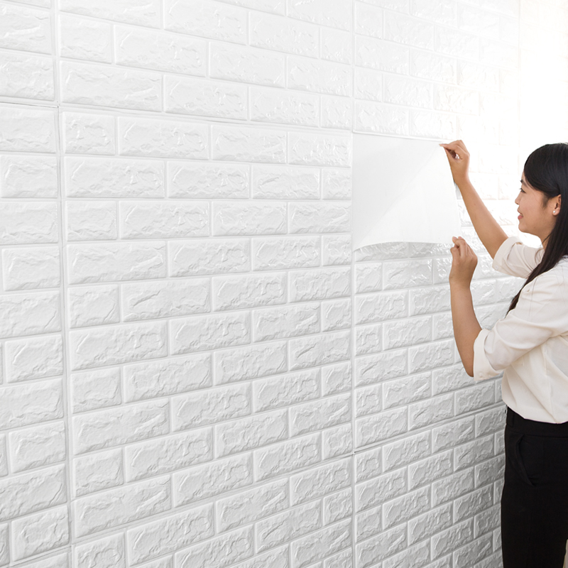 70cmX77cm PE Form 3D Wall Stickers Living Room Brick Pattern Wall Paper Stickie Kids Bedroom Home Decor Self Adhesive Wallpaper