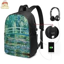 Monet Backpack Monet Backpacks Student Trend Bag High quality Street Print Men - Women Multi Pocket Bags little monet