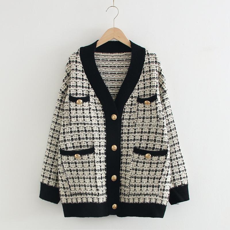 Women Sweater Coat 2020 Oversized Thicken Knit Cardigans Women Jacket Loose Plaid Jumpers Korean Robe Long Coat Sueter Feminino