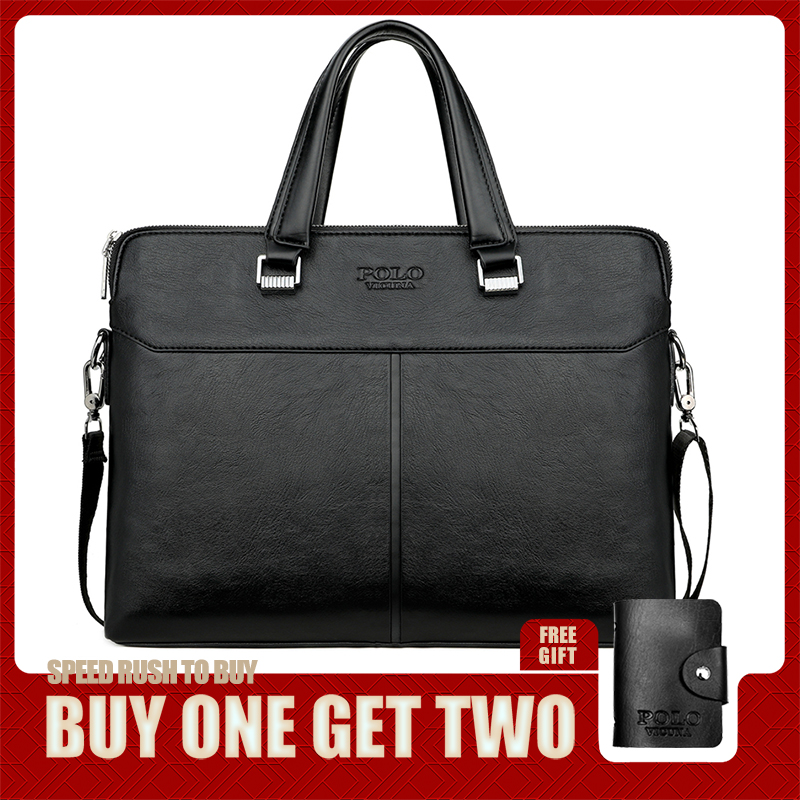 VICUNA POLO Classic Black Business Man Bag Leisure Leather Mens Handbag For Laptop OL Men's Briefcase Cross Body Shoulder Bags