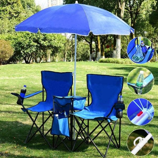 Outdoor Folding Table Garden Table Chair Set Portable Camping Picnic Furniture with Umbrella 1