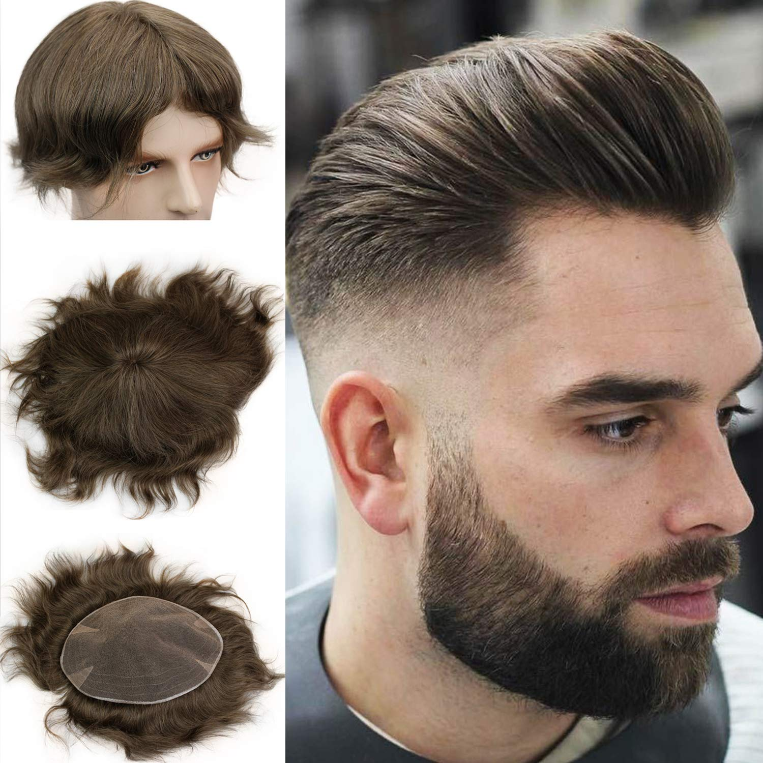 Swiss Full Lace Men's Toupee European Real Human Hair Replacement For Men Hairpiece #7 Brown Color 10X8