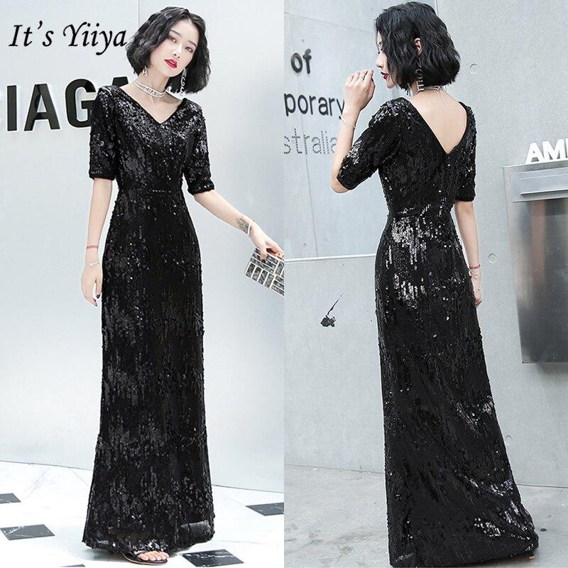It's Yiiya Formal Evening Dress For Women Deep V-Neck Evening Dress Long K023 Robe De Soiree Black Elegant Formal Gowns 2020