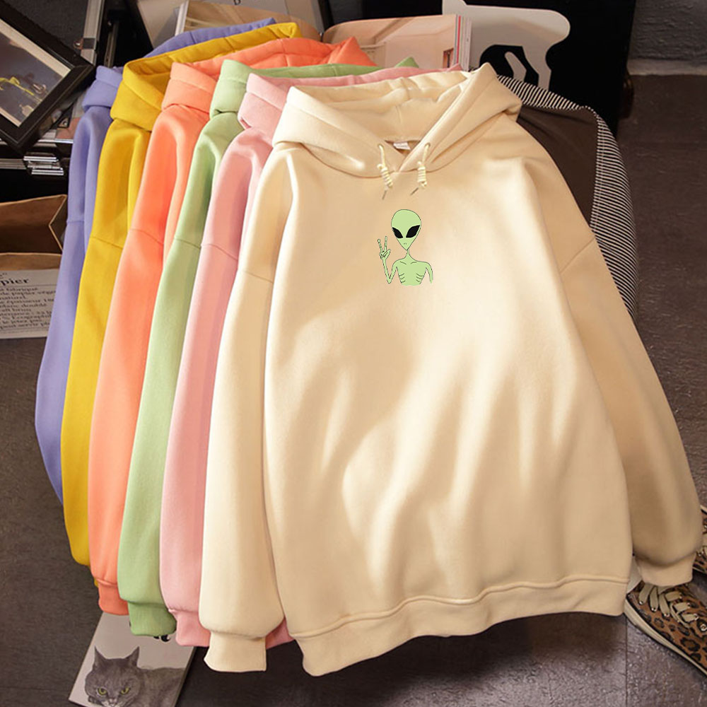 Kawaii Harajuku Funny Alien Oversized Hoodies Sweatshirt Autumn Winter Women Kawaii Loose Long Sleeves Tops Plus Size