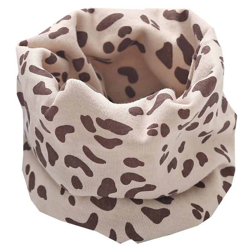 Осенне-зимний детский хлопковый плюшевый шарф, детский шарф для девочек, шарфы для мальчиков и девочек, детский воротник, детский волшебный шейный платок с круглым вырезом - Цвет: leapord beige