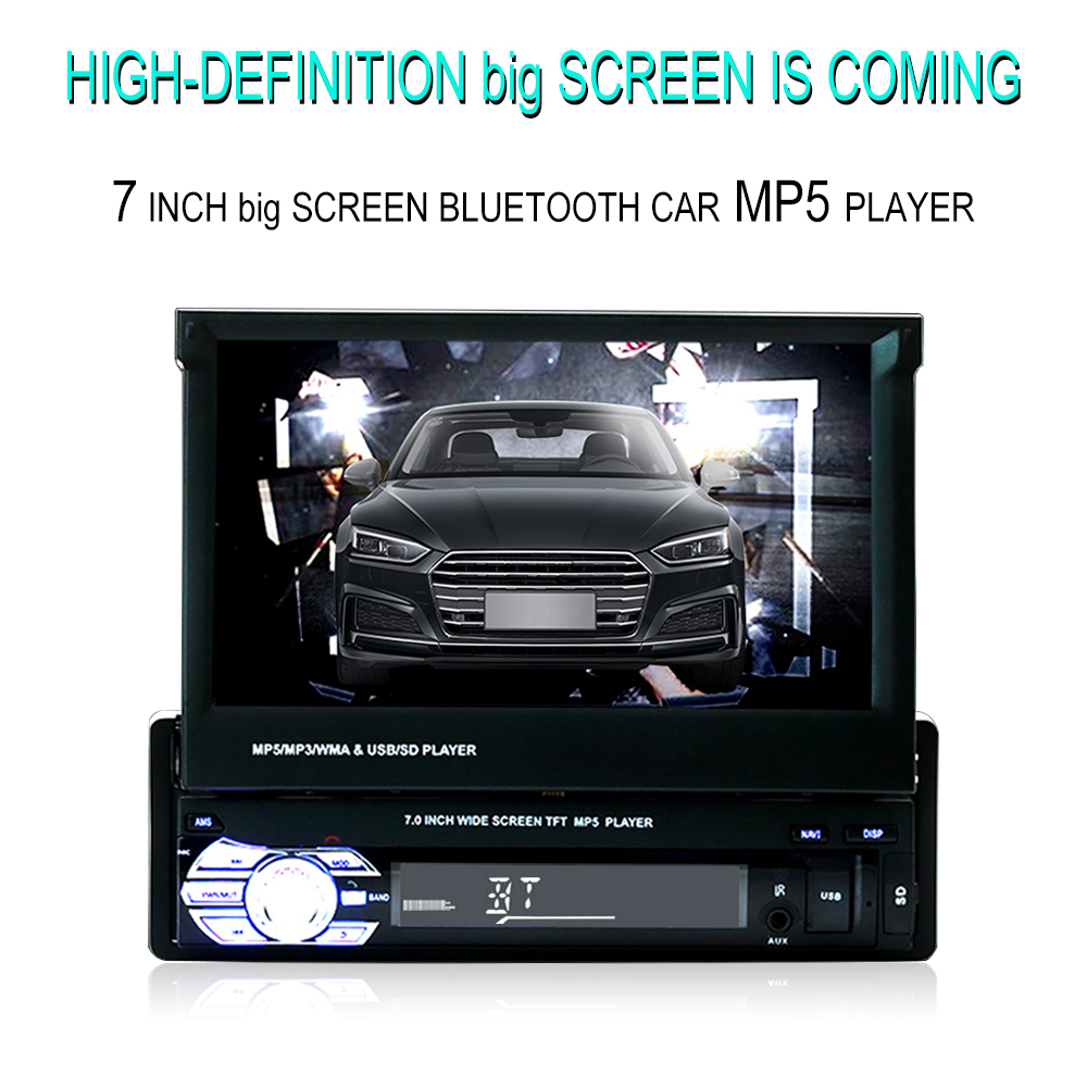 Car Stereo receiver 1din Audio Bluetooth Radio with 7 HD Retractable Touch Screen Monitor MP5 Player SD FM USB Rear View Camera image