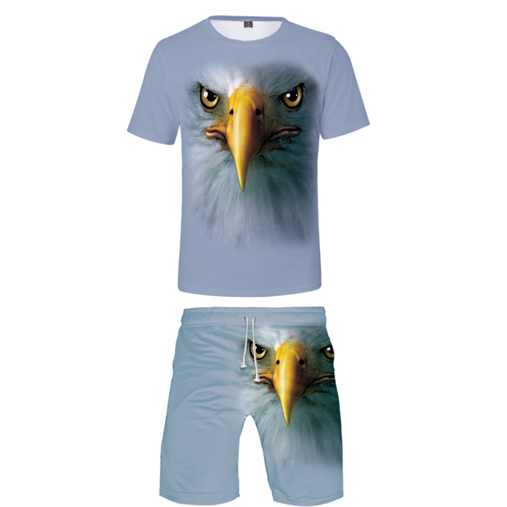 New 3D Animal T-shirt + Beach Shorts Male / Female Hip Hop Summer Casual 3D Eagle Print Boy / Girl Two-piece Fashion Cool
