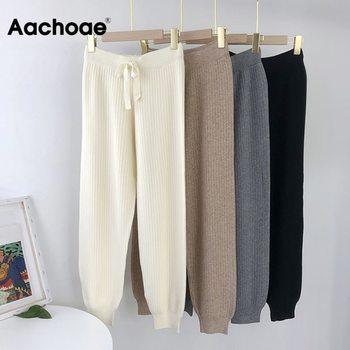 Aachoae Casual Knitted Pants Women Drawstring Elastic Waist Long Trousers Female Solid Color Ladies Pencil Pantalones - discount item  50% OFF Pants & Capris