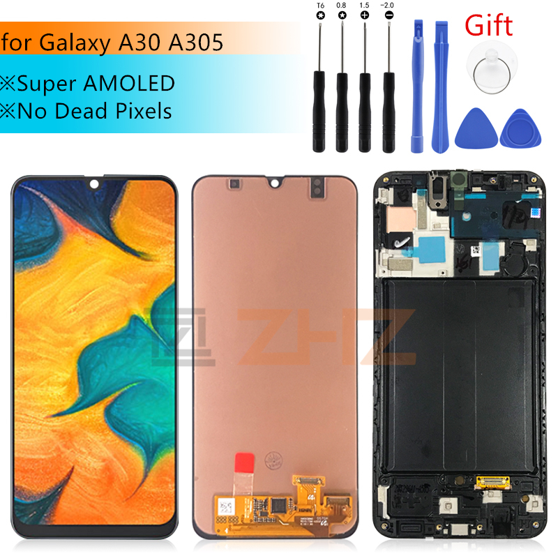 Super AMOLED For <font><b>Samsung</b></font> galaxy <font><b>A30</b></font> <font><b>lcd</b></font> 2019 a305 Touch <font><b>Screen</b></font> Digitizer Assembly A305/DS A305F A305A with frame repair parts image