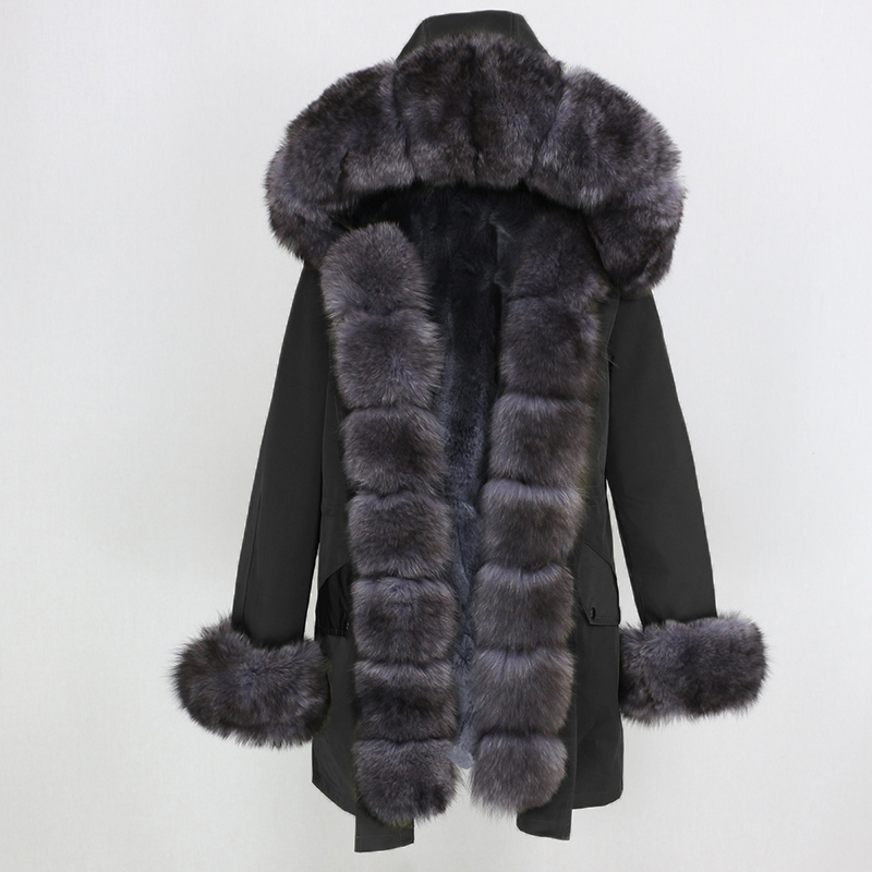 Oftbuy 방수 롱 파커 겨울 자켓 여성 리얼 모피 코트 천연 여우 모피 칼라 후드 두꺼운 따뜻한 streetwear 분리형 신규-에서리얼 퍼부터 여성 의류 의  그룹 2