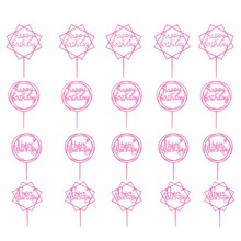 20pcs/set Happy Birthday Cake Topper Gold Black Pink Acrylic Glitter Cupcake Topper for Birthday Party Dessert Cake Decorations
