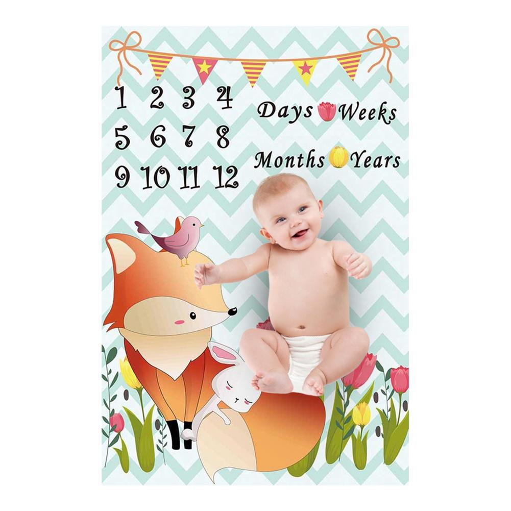 Cartoon Pattern Infant Baby Milestone Photo Props Background Blankets Play Mats Backdrop Cloth Calendar Photo Newborn Blankets
