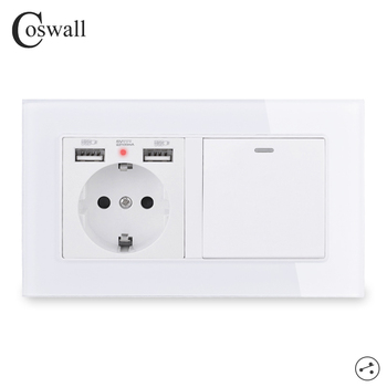 COSWALL EU Russia Wall Socket With 2 USB Charge Port + 1 Gang Way On / Off Stair Rocker Light Switch Switched Glass Panel - discount item  12% OFF Electrical Equipment & Supplies