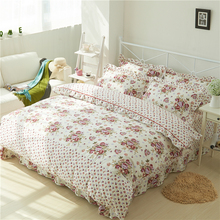Pink Rose Floral Duvet Cover with Zipper 100%Cotton Soft Bedding Set for Girls 4Pcs Twin Queen King size Bed sheet Quilt Cover