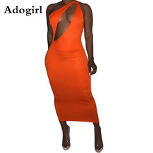 Adogril Solid Women Cut Out Front Sleeveless Skew Neck Knitted Long Midi Bodycon Dress Night Club Party Dresses Vestidos цена в Москве и Питере