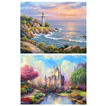 5D Rainbow Castle Diamond Painting & Full Round 3D Diy Diamond Painting Animal Scenery Picture Home Decor Gift Style3(China)