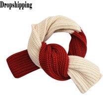 Вязаные шарфы Харадзюку с панелями, вязаный шерстяной шарф на шею, милый зимний теплый шарф на шею для мальчиков и девочек, накидки, женские шарфы# ZD