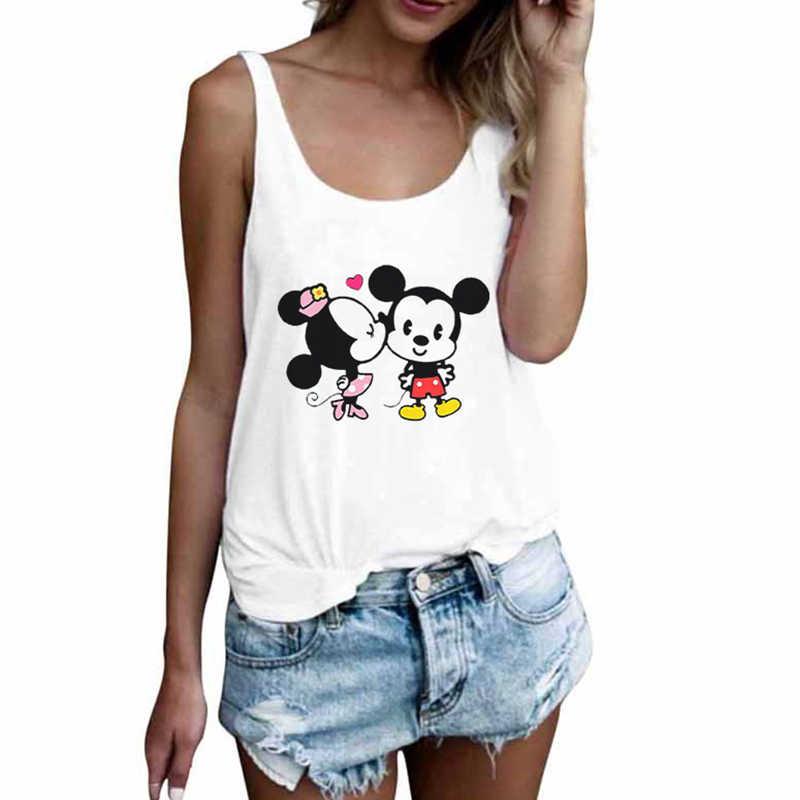 2020 Nieuwe Mode Toevallige Dames Cartoon Leuke Muis Print Hemdje T-shirt O-hals Sexy Losse Witte Grote Omvang Mouwloze Dames