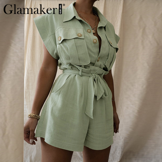 Glamaker Green two piece suit short sleeve shirt and shorts Women loose casual summer playsuit Female 2021 new office lady sets 2