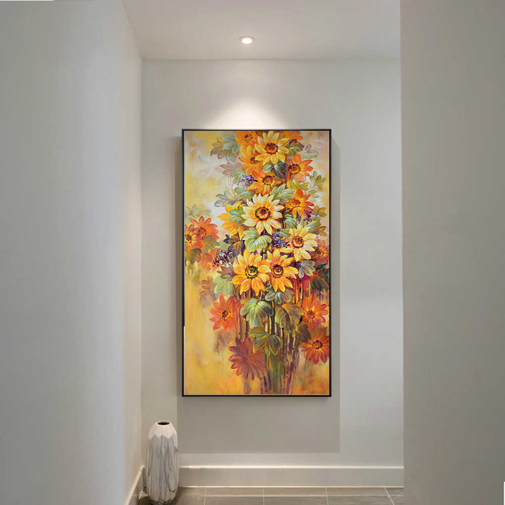 Oil Modern Sunflower Wall Art Flowers Canvas Painting Posters Prints POP Art Pictures for Gallery Living Room Home Decorative