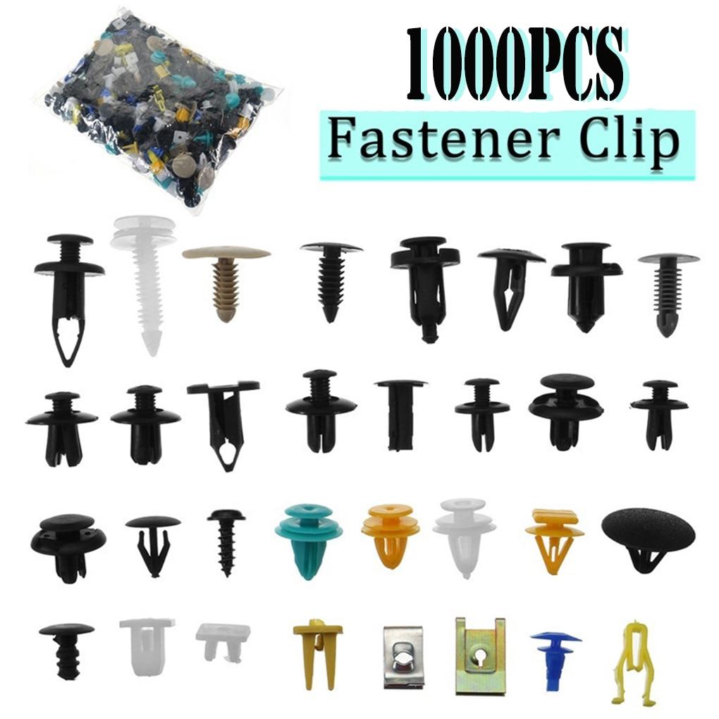 1000pcs/set Automotive Plastic Rivet Car Fender Bumper Interior Trim Push Pin Clips Kit Car Accessories With 6 Inch Tool