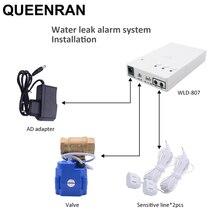 Russo/ukrain sensor de vazamento de água com válvulas de parada automática detector de vazamento de água sistema de alarme para cozinha casa inteligente