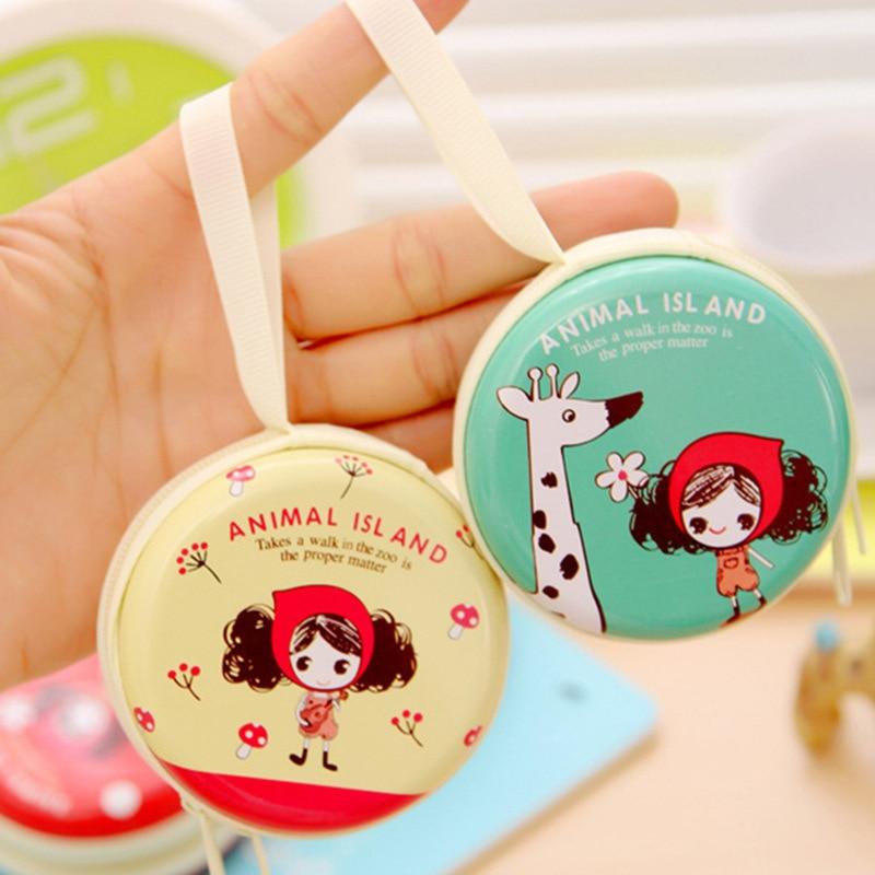 Day South Korea Creative Beard Mini Nv Hai Cartoon Tin Box Round Cute Hand Key Earphones Purse