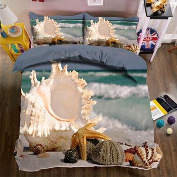 Conch DYI Printed Bedding Set for Child Room Sunset Beach Starfish Pattern Duvet Cover set Pillowcase Multi-size set Bedding