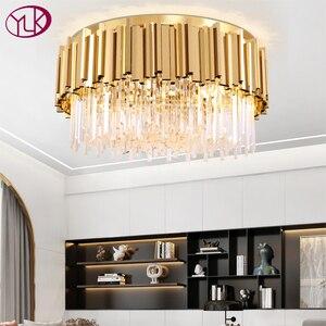 Image 1 - Youlaike Round Gold Crystal Chandelier For Ceiling Luxury Modern Bedroom LED Lustres De Cristal Home Indoor Lighting Fixtures