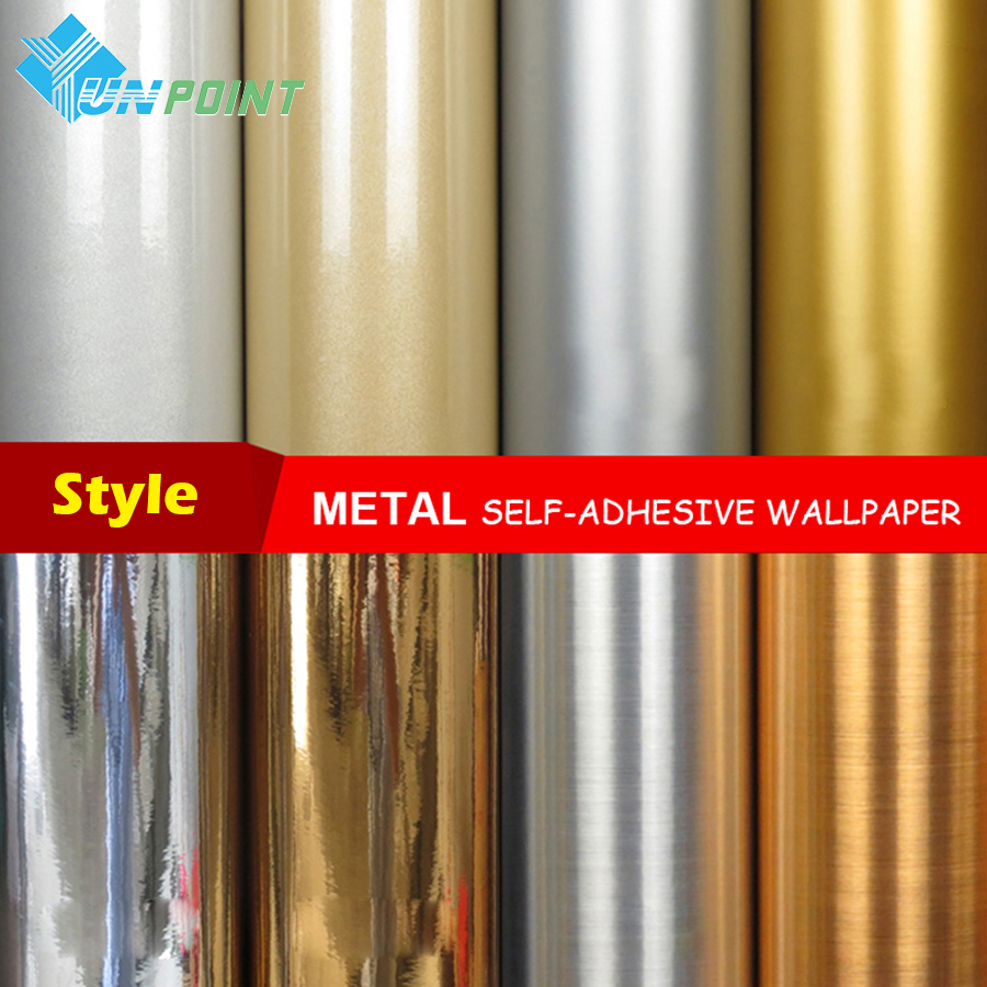 Metal Effect Wallpaper Self Adhesive Mirror Silver Brushed Gold Waterproof Sticker Fridge Old Electrical Diy Decorative Film-in Wallpapers from Home Improvement