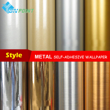 0.46*5Meters/roll Waterproof glitter fabric stickers mirror metal wallpaper silver gold paper self adhesive film home decoration