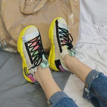 Dad Shoe Woman Ventilation Socks 2019 Thick Bottom Muffin Leisure Time Motion Shoes Tide Zapatos De Mujer Sneakers