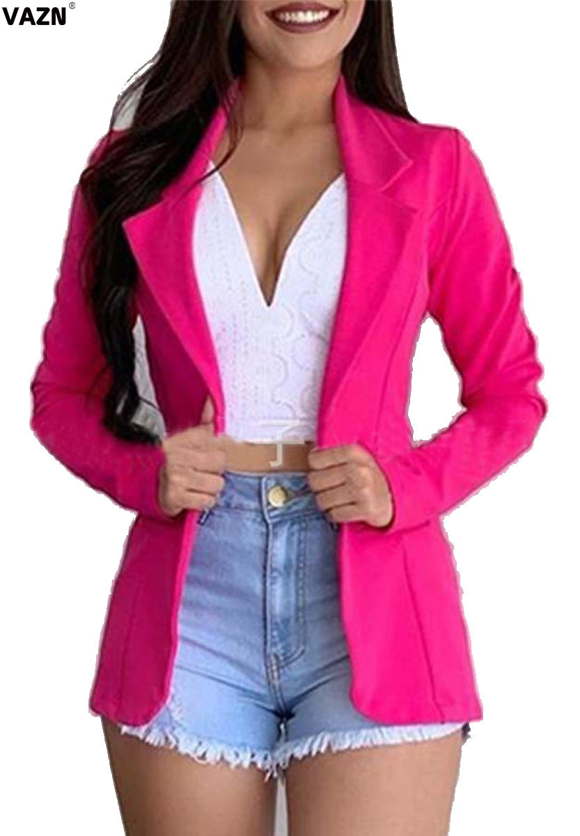VAZN Rose Red New Solid Open Shirt Hot Fashion Ladies Casual Women Blazers 2020 Notched Full Sleeve Outwear Women Casual Style
