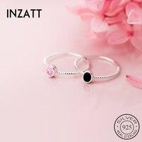 INZATT-anillo redondo ovalado de circón negro para mujer, Plata de Ley 925 auténtica, joyería fina minimalista, accesorios