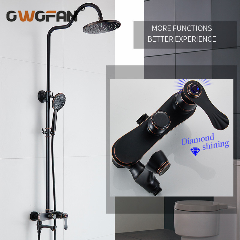 Shower Faucets Euro Style Brass Bathroom Faucet Oil Rubbed Bronze Dual Handle Dual Control With Slide Bar With Hand Shower 45502