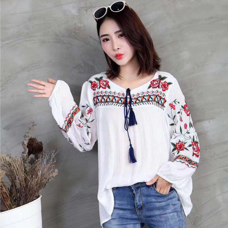New Spring Autumn Fashion Ethnic V Neck Viscose Floral Embroidery Blouse Women Long Sleeve Pullover Shirts Blouses Tops