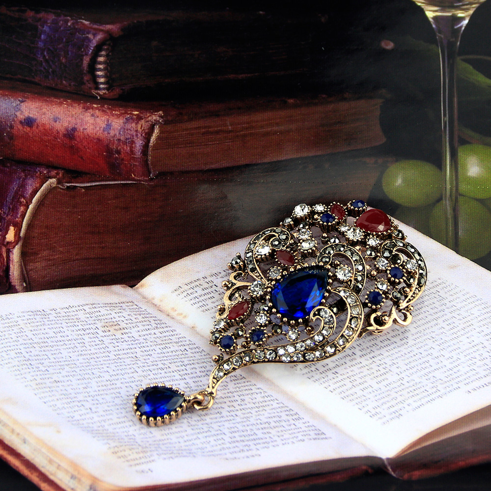 Sunspicems Vintage Turkish Brooch Pin Drop Pendant for Women Retro - Fashion Jewelry - Photo 3