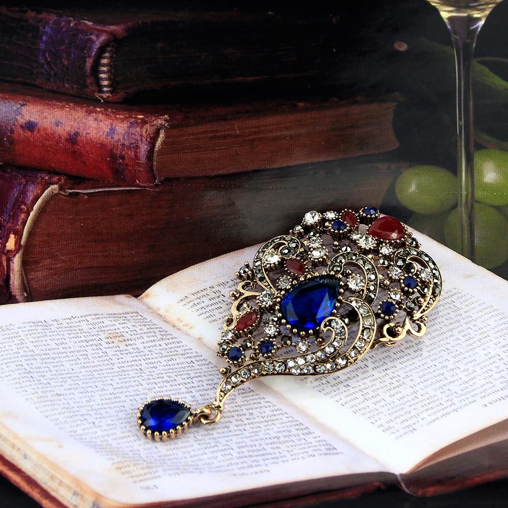 Sunspicems Vintage Turecki Broszka Spadek Wisiorek dla Kobiet Retro - Modna biżuteria - Zdjęcie 3
