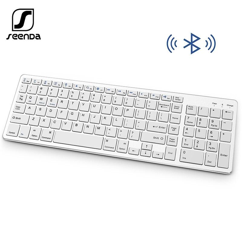 SeenDa Tastiera Bluetooth Ricaricabile Portatile Tastiera Senza Fili con Il Numero Pad Pieno Disegno di Formato per il Computer Portatile Tablet PC Desktop