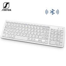 SeenDa teclado inalámbrico Portátil con Bluetooth, teclado recargable con panel numérico, diseño de tamaño completo para ordenador portátil, PC y tableta