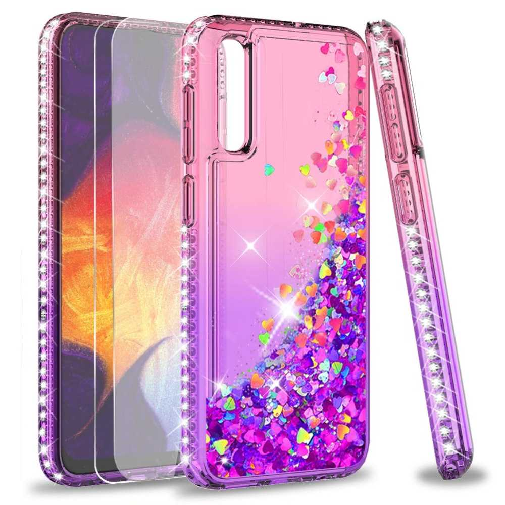 Diamond Glitter Case For Samsung Galaxy A50 A70 A60 A40 A30 A20 A10 A20E Cover Gradient Quicksand Case for Samsung M10 M20 M30