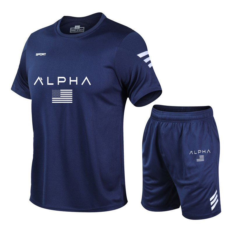 Men's Casual Tracksuit T-shirts And Shorts Running Jogging Athletic Sports Suit Set 2 Peice Workout Quick Dry T Shirt For Men