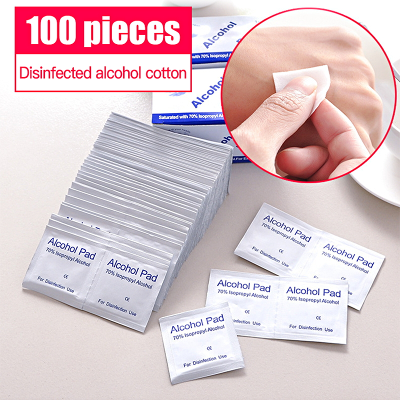 100pcs Disposable 70% Alcohol Disinfection Cotton Tablets Swap Pad Emergency Skin Cleaning Wipe Jewelry Mobile Phone Clean Wipe