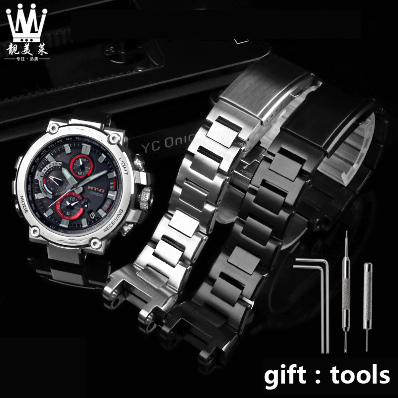High Quality Stainless Steel Watchband For Casio G-SHOCK MTG-B1000 Series Sports Metal Men's Stainless Steel Watch Band