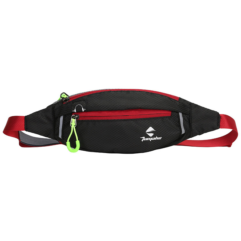 Jogging Waist Bag Travel Pocket Key Wallet Pouch Phone Holder Chest Marathon Bag Waterproof Nylon Sports Running Pockets Black