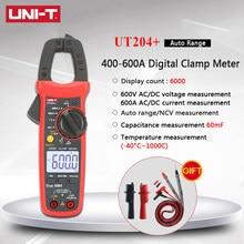 Multímetro Digital de abrazadera ut204 plus, Unidad de corriente Uni t uni-t Mini DC, Rango automático de voltaje, valores eficaces verdaderos 600A