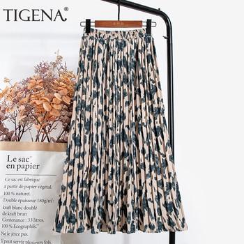 TIGENA Leopard Print Long Maxi Pleated Skirt Women Fashion 2021 Summer Korean Elastic High Waist Aesthetic Chiffon Skirt Female 1