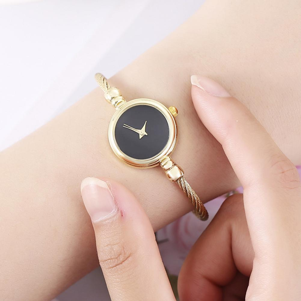 Fashion Women No Scale Round Dial Alloy Wire Band Bangle Quartz Wrist Watch