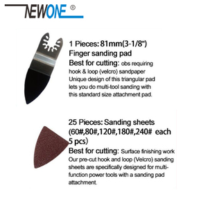 Image 5 - Newone 25 pçs ferramenta de oscilação liberação rápida lixa papel + dedo almofada lixa se encaixa para ferramenta multifunções fein dewalt rockwell